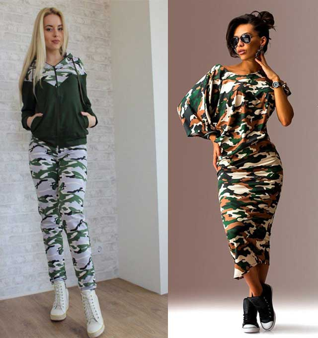 женская одежда из ткани камуфляж