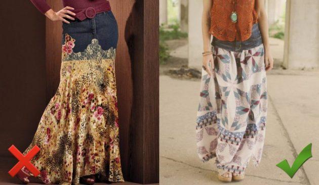 юбка из джинсы с правмильно и не правильно подобранной отделкой