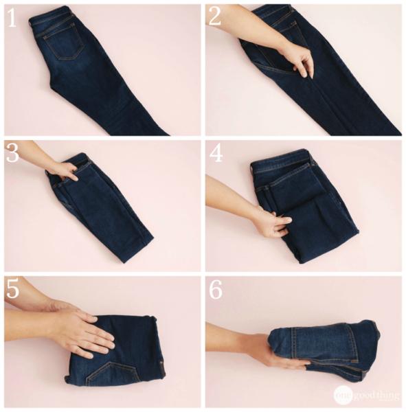 как сложить джинсы компактно